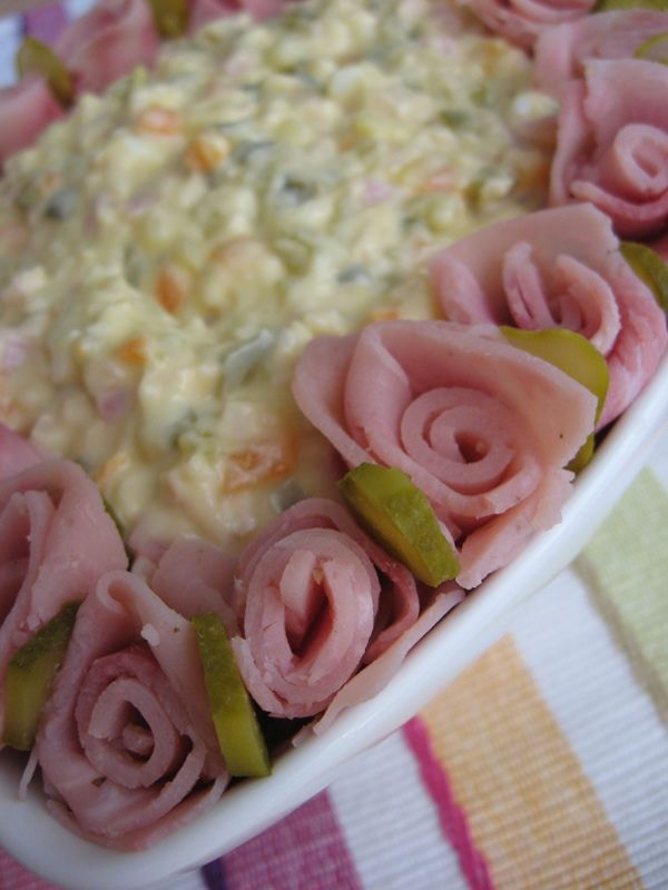 Pinning not so much for the potato salad, but for the idea of ham-and-pickle roses!!