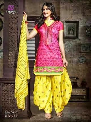 Beautifully Designed Pink Patiyala Dress in Cotton with awesome embroidery work done. Comes along with Yellow contrast matching finely embroidered Bottom and Duppatta.