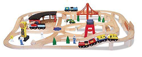 Septiembre CARRIL DE MADERA 10701                  Features  Más de 130 piezas Incluye trenes, señales de tráfico, arboles, grúas y mucho más Compatible con otros juegos de trenes de madera Precio y calidad excepcionales Precio/calidad excelente   http://comprarmaquetasde.com/producto/medios-transporte/trenes/melissa-doug-juego-de-tren-de-madera-10701/