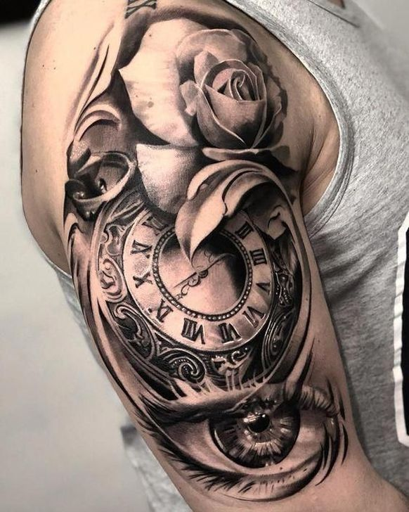 Half Chest Tattoos For Men : chest, tattoos, Lovely, Chest, Tattoo, Ideas, Timeless, Shoulder, Tattoo,, Watch, Tattoos,, Sleeve