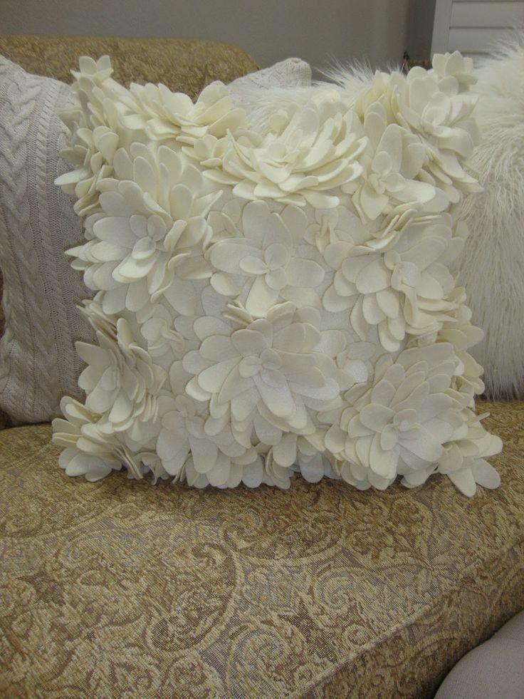 DIY white felt flower pillow on sofa - homemade felt pillow, home decor