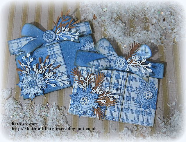 Simon Says Stamp Monday Challenge - 8 January 2018 Winter Blues using Tim Holtz/Sizzix Gift Card Package and Festive Greens Thinlits, SA Mini Swirly Snowflakes and Sizzix Swirly Snowflakes Framelits
