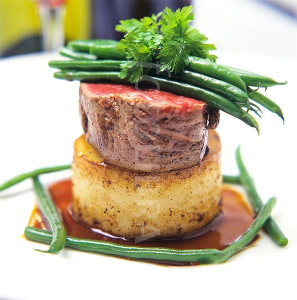 Fine Dining Plate Presentation | ... beef with potato and Madeira sauce fine green beans on a white (Favorite Recipes Meat)