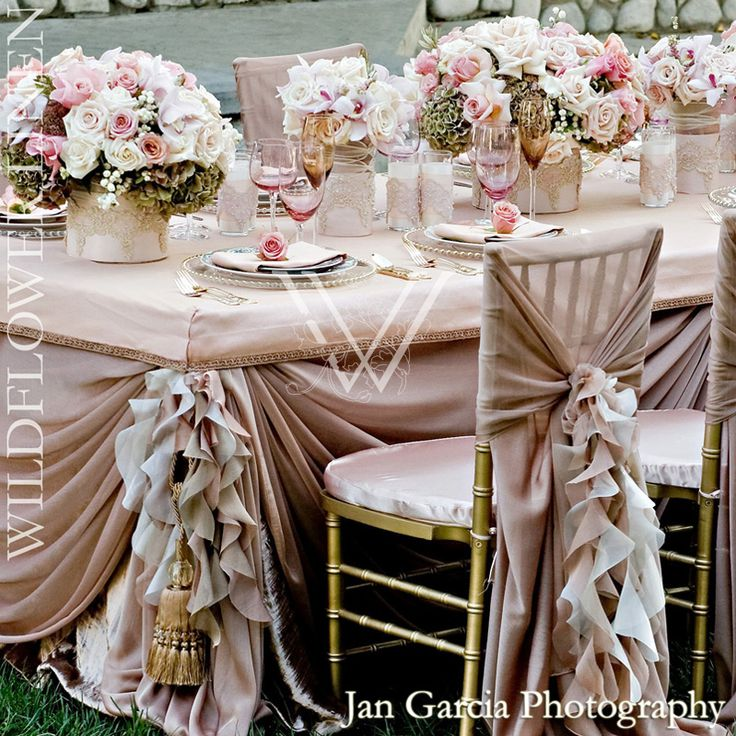 Weddbook Frilly Pale Pink Wedding Table Design For Dream Decoration With Roses And Ruffled Chair Covers Sashes
