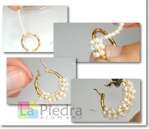 aprenda a hacer Aretes de perlas, explicación paso a paso tutorial en linea