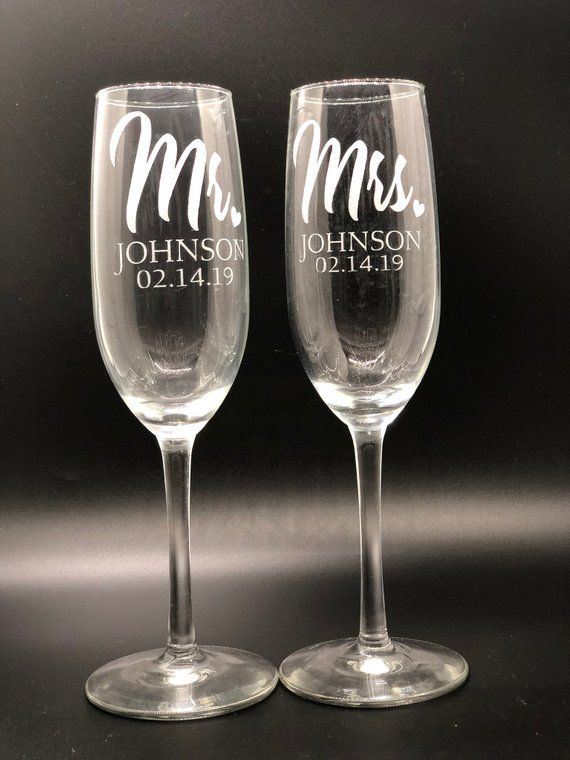 Customized Champagne Glasses Personalized Glass Etsy Wedding Toasting Glasses Wedding Champagne Glasses Wedding Wine Glasses