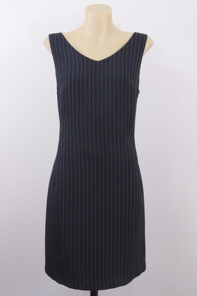 Size M 12 Ladies Black Dress Stripe Business Work Cocktail Chic Corporate Design #DesignStudio #ShiftDress #WeartoWork