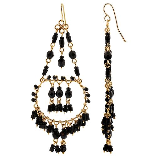 Gold Plated Black Czech Seed Beads Handmade Chandelier Earrings #MPER136
