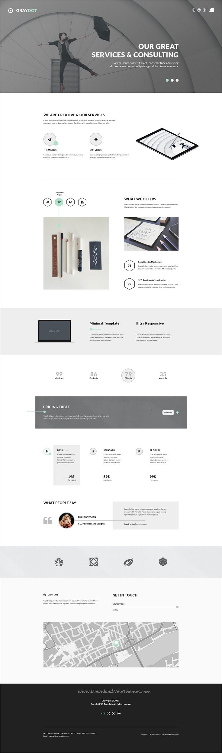 Graydot is clean and modern design PSD template for #consulting #services website with 9 layered PSD  pages download now..