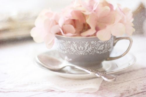 : Grey Pink Peaches, Pink Flowers, Teas Time, Teacups Full, Teas Cups, Pink Gray, Pale Pink, Teas Parties, Baby Shower