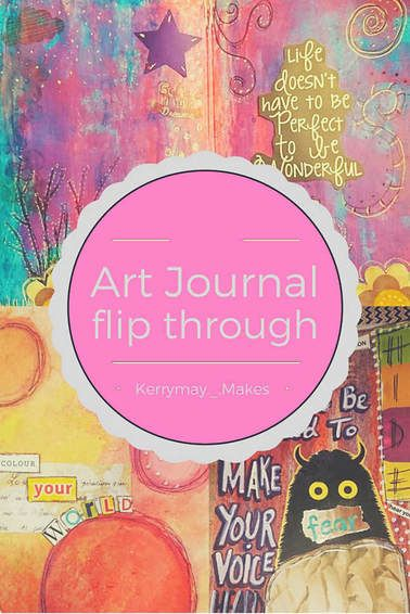 Art Journal flip through of a shared journal. The journal uses a variety mixed media with art techniques using stamps, distressing pages, watercolour, use of salt, acrylic paint, brayer rolling and collage. #artjournal #artvideo #artjournalvideo Kerrymay._.Makes