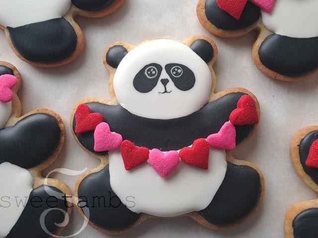 SweetAmbs - Valentine's Day Panda Bear Cookies