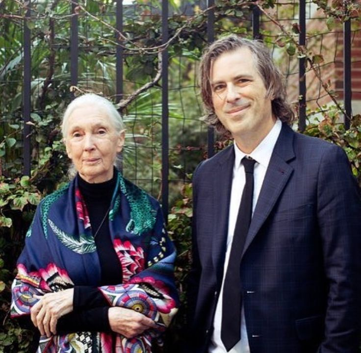 Dr. Jane Goodell wearing Hermes scarf designed by Ardmore 'Savana Dance'