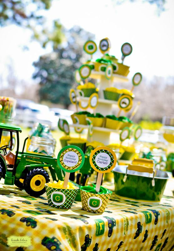 John Deere party: Carter is 5 and Copeland is 2!