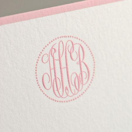 Bespoke Stationery   Bone White Empire Card with Stanton Pink Borders and Stanton Pink Monogram.