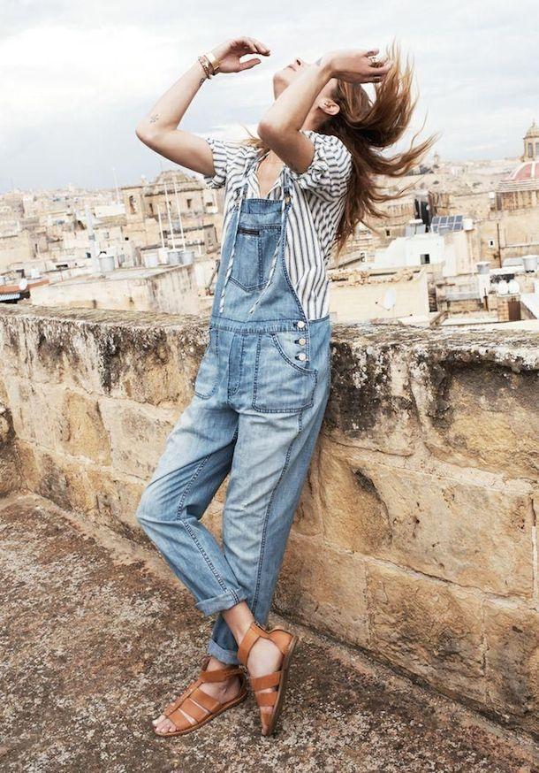 overalls + stripes, pantalon dening decolorado con elastico en la bota