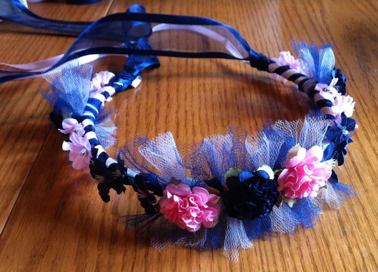 Dual Color Floral And Tulle Bridal Or Flower Girl Ribbon