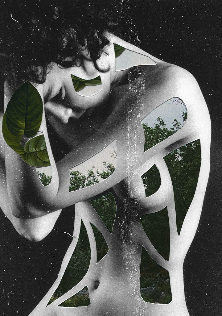 Spanish-based photographer, graphic/web designer and editor Rocio Montoya creates surreal collages that speak about the human body in close relation to nature.