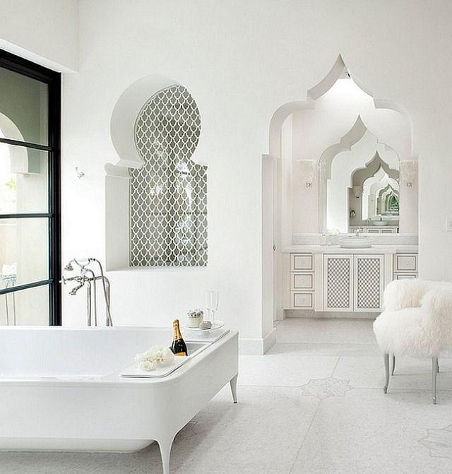 Moderne Weiße Marokkanisch Inspirierte Badezimmer Exotischer Designtrend  Mehr