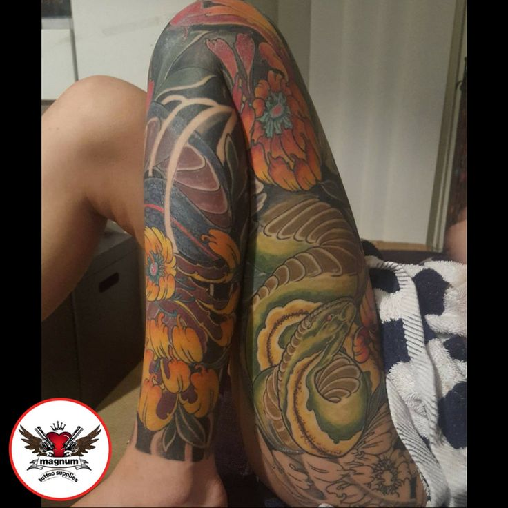 Incredible leg sleeve done with #magnumtattoosupplies by Zack Chiswell #japanesetattoo #colour #orientaltattoo #tattoos