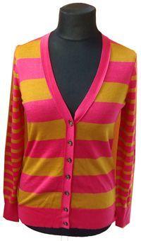Nové - Dámský okrovo-růžový pruhovaný propínací vlněný svetr zn. Ann Taylor vel. S