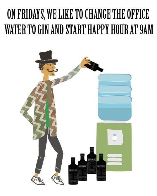 On Fridays we like to switch the office water for gin and start happy hour at 9am #ginoclock #ginpuns