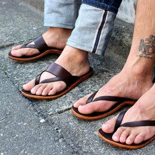 Kika NY Sandals -- it's hard to find nice masculine leather flip flops these days...