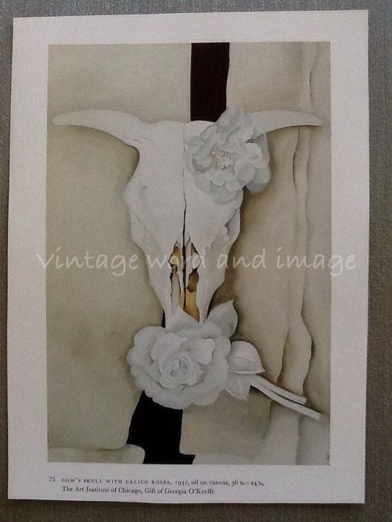 Georgia O'Keeffe Cow's Skull w White Calico Roses Art Print Vintage Lithograph Southwestern Modern Bones  B & W Home Office Decor Book Plate