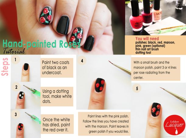 Hand-painted rose nail art tutorial