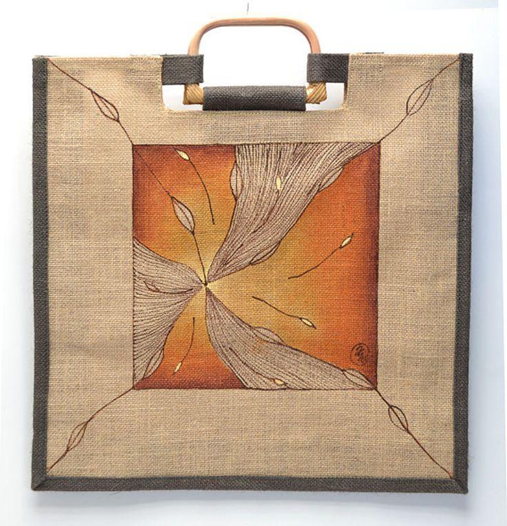 Jutová taška ručně malovaná, větrník