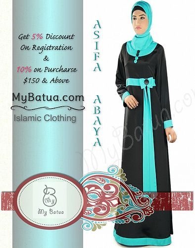 Modern Islamic Black Bow Abaya by MyBatua.com