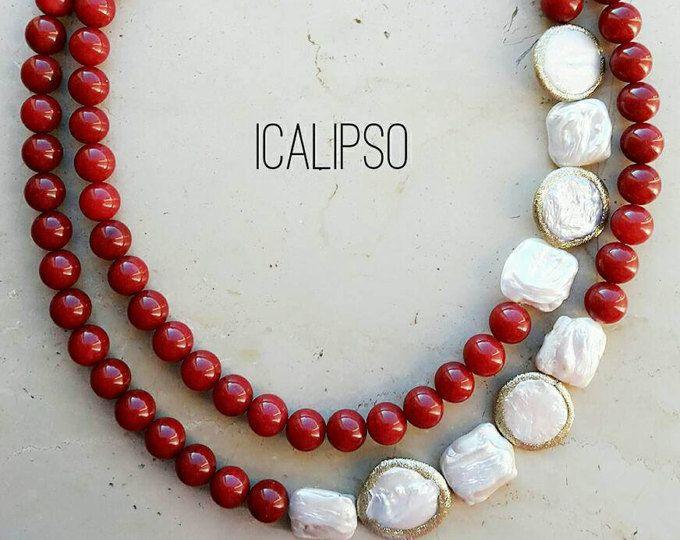Collana di rubini per moglie gioielli regalo per lei, gioielli dichiarazione rosso collana, collana di perline per compleanno mamma, gioielli in pietre dure, anniversario