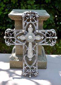 iron scroll cross - I love crosses ;-)