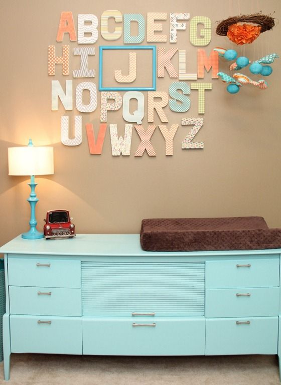 orange and turquoise baby nursery alphabet and changing table #Alphabet