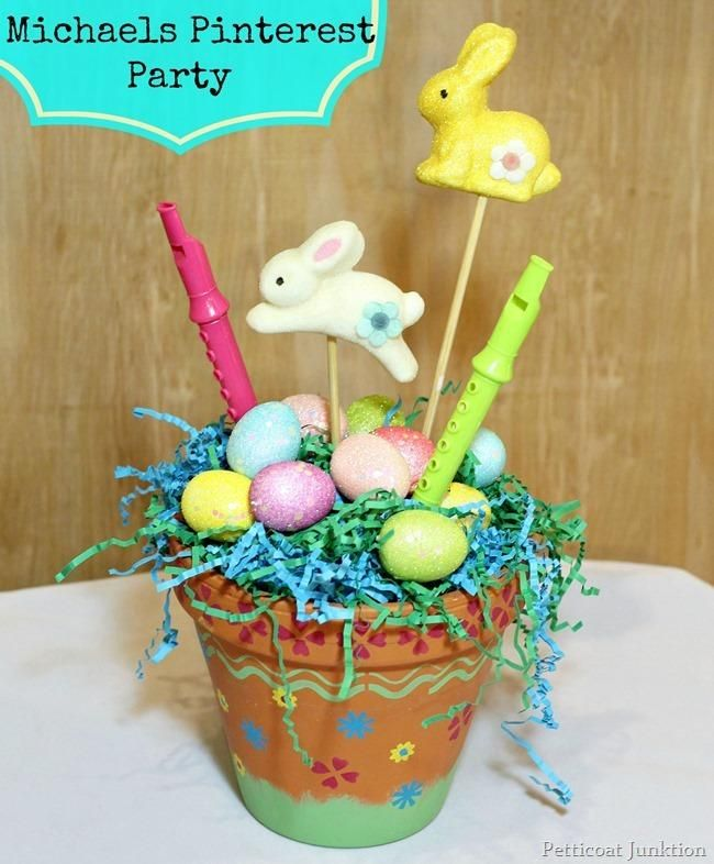 Clay Flower Pot Craft Stenciled With Acrylic Paints Easter