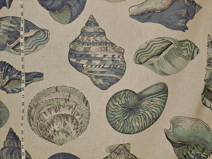 Seashell fabric nautilus  sea glass green blue aqua
