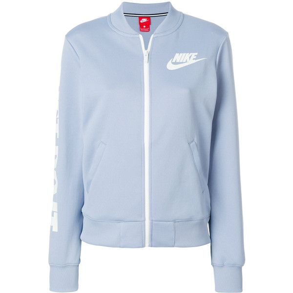 Nike Just Do It bomber jacket ($60) ❤ liked on Polyvore featuring outerwear, jackets, blue, blouson jacket, flight jacket, zip front bomber jacket, blue bomber jackets and long sleeve jacket