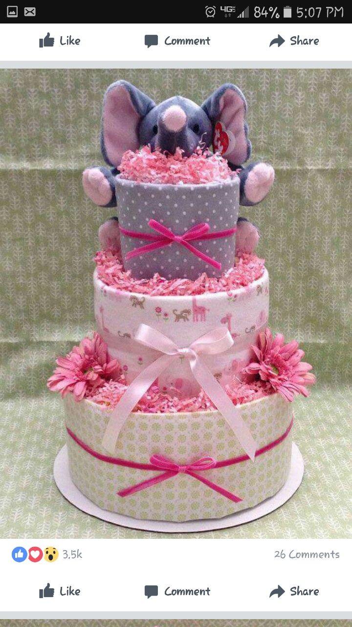 Elephant blanket diaper cake