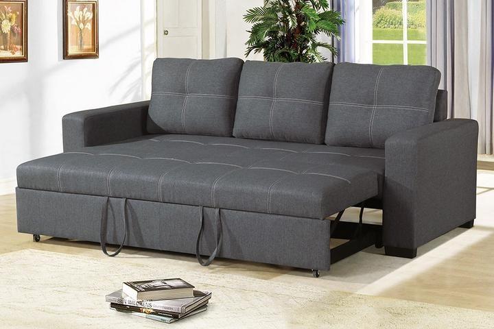 Poundex Blue Grey Polyfiber Convertible Sofa Bed In 2020 Sofa Set Furniture Upholstered Sofa