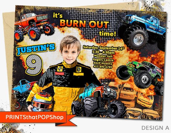 Monster Truck Party,Monster Truck Invitation,Custom Face Invites,Monster Truck Birthday,Dirt Bike Party,Photo Invite,Milestone,Dirt Bikes