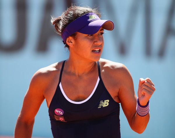Heather Watson Photos - Heather Watson of Great Britain celebrates a point against Daria Gavrilova of Australia in their first round match during day two of the Mutua Madrid Open tennis tournament at the Caja Magica on May 01, 2016 in Madrid,Spain - Mutua Madrid Open - Day Two