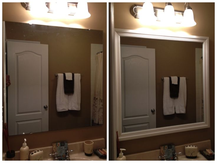 Easy And Cheap Bathroom Mirror Upgrade Add Molding To Frame Existing Builder Grade Mirror