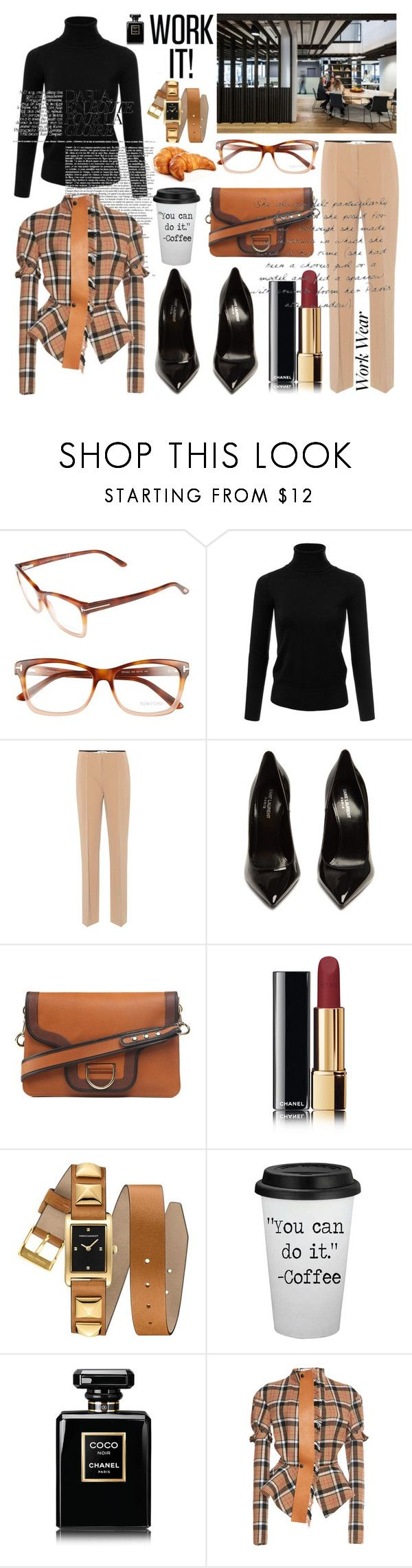 """""""Loewe Tie Leather Jacket"""" by the-wardrobe-of-wishes on Polyvore featuring moda, Tom Ford, Diane Von Furstenberg, Yves Saint Laurent, Marc Jacobs, Chanel, Rebecca Minkoff, ADAM, Loewe e WorkWear"""