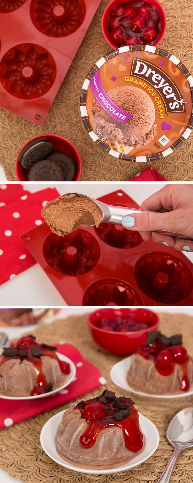 """Dreyer's Mini Ice Cream Volcanoes: Your kids will erupt with excitement when they help you make these tasty, back-to-school-inspired frozen treats! Simply take a mini bundt cake pan and mold Dreyer's Chocolate Grand Ice Cream into it. After freezing the ice cream, pop them out of the pan. Craving cherries this season? Before serving, pour cherry pie filling over the top to create the volcano """"lava"""" and add cookie crumbles to be the """"dirt"""" of the volcano."""