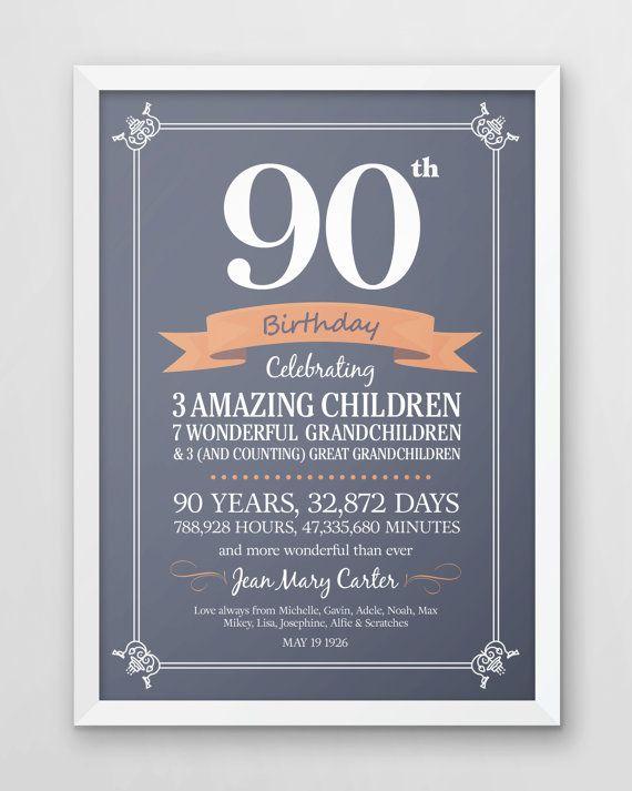 90th birthday print, Personalized birthday, gift for, Mom, Dad, Grandma…