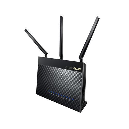 Routeur #wifi ASUS RT-AC68U 802.11b/g/n/ac 2.4GHz et 5GHz débits maximum dual band : 1900 Mbps. Port #USB 3.0 et 1 USB 2.0 pour le partage de disque/clé ou imprimante. Serveur FTP, Samba, iTunes, Time Machine