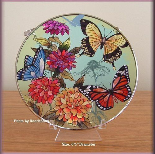 Amia Handpainted Glass Suncatcher Butterfly Garden in Bloom Free Shipping | eBay
