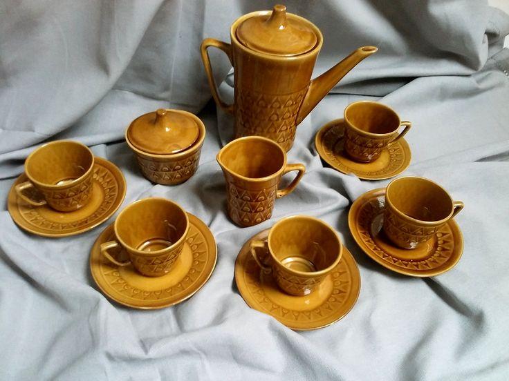 Serwis do kawy dla 5 osób Chodzież lata 70.