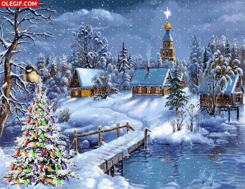 GIF: Nieva sobre un pueblo navideño