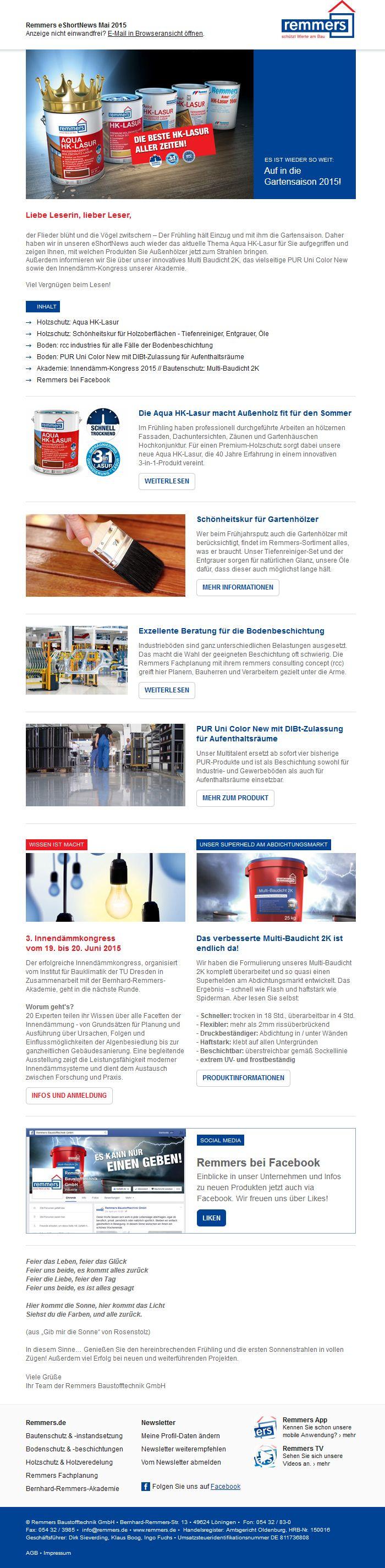 mailingwork kreierte für remmers Baustofftechnik ein neues  #Newsletterdesign! #Email #Emailmarketing